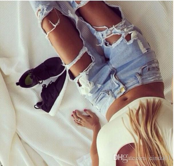 Hot Women Ripped Sexy Jeans Destroyed Ripped Distressed Slim Denim Pants Casual Hip Hop Clothing Trouser for Female Free Shipping
