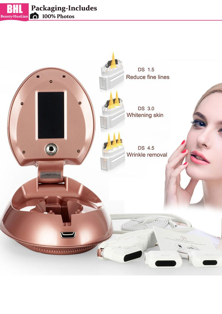 Portable Home Use Face Lift Hifu Machine With 3 Cartridges 4 5mm&3