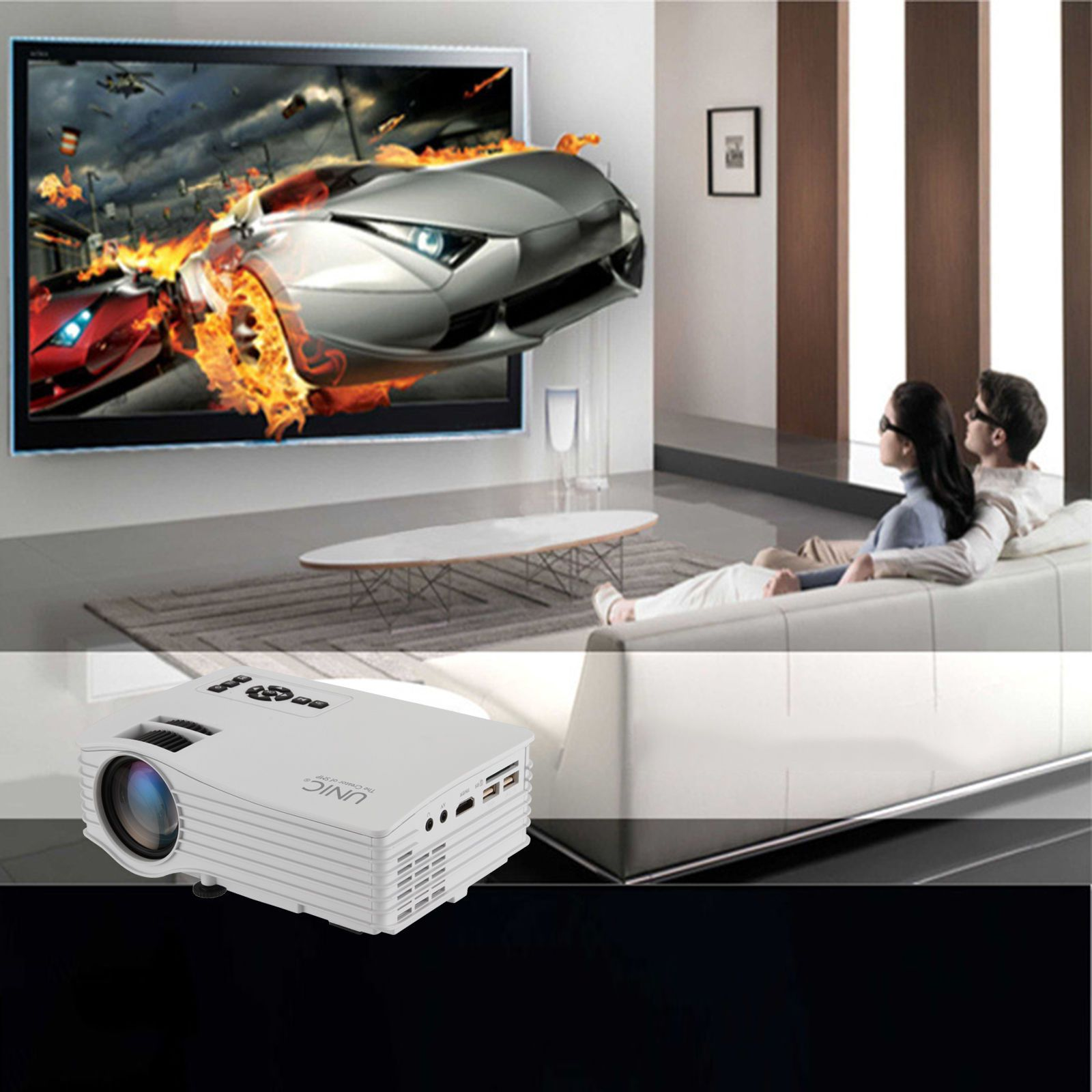 UNIC UC36 LED Projector Full Color 1080P Throw 130-inch Screen Portable Multimedia LED Projector w/ HDMI AV USB for NoteBook Laptop