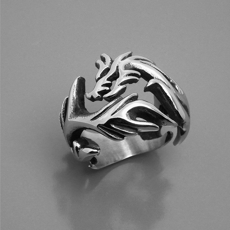Men's and woman dragon vintage stainless steel rings chinese style titanium steel metal rings jewelry accessories