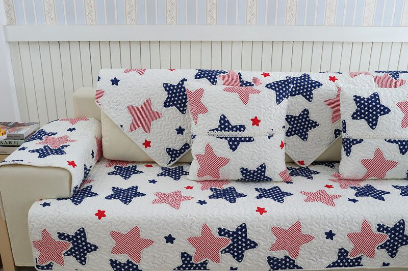 2018 new kind100%cotton stars combination four seasons of sofa cover set