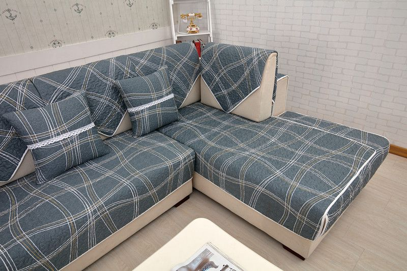 2018 new kind grey 100%cotton the plaid living room four seasons of sofa cover bay window cushion