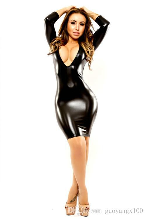 new Black Wet Look Bodycon Dress patent leather sexy nightclub Slim package hip skirt dress