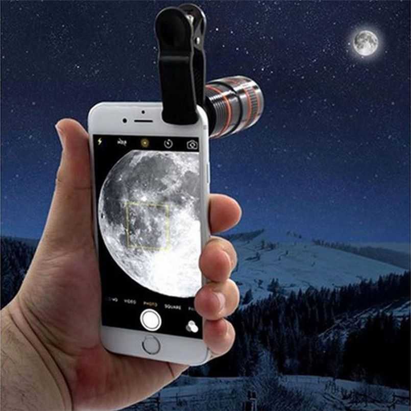 Telescope Lens 12x Zoom Optical Camera Telephoto len with clip for Iphone Samsung HTC Sony LG mobile smart cell phone