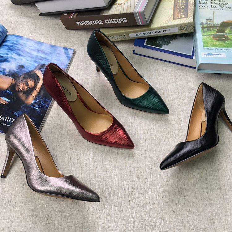 Women New Fashion Metallic Finish High Heels Sexy Pointed Toe Pumps Genuine Cow Leather Spring Summer Autumn Single Shoes Party Wedding Shoe