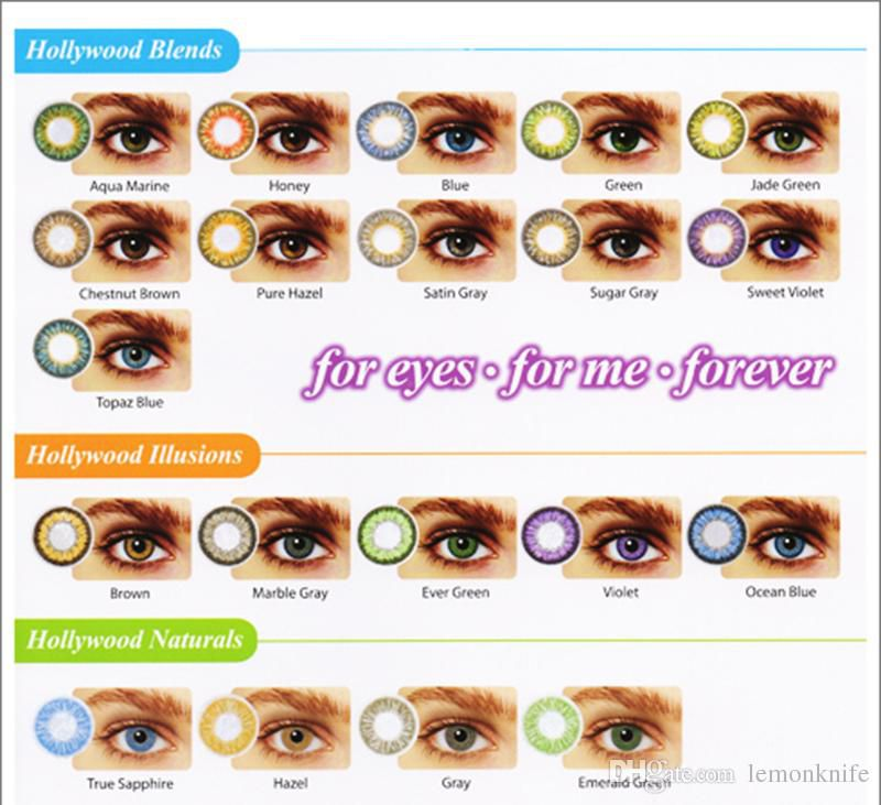 Hollywood 20 colors with case contact lenses/ with free case contact lens/ colored contacts/ color contact lenses
