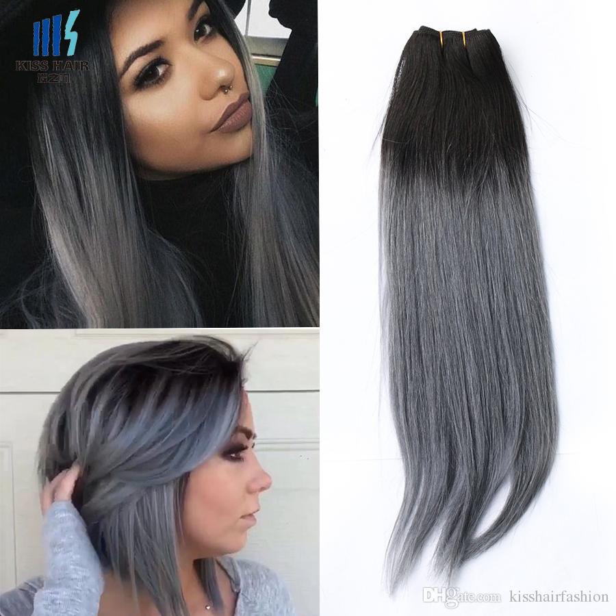 300g Ombre Human Hair Weave Bundles Two Tone T 1b Green Blue Grey