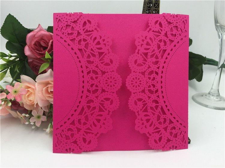 2016 Free shipping European Classic Paper Laser Cut Pink Wedding Invitations Cards Customizable Invitation with Blank Inner Sheet