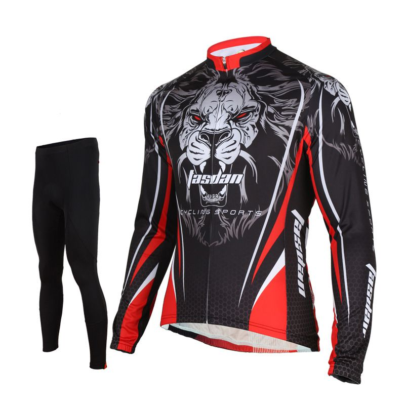 25017a585 Tasdan Cube Cycling Jersey Set Tiger Pattern Thermal Long Sleeve Suits Men  Clothing P..