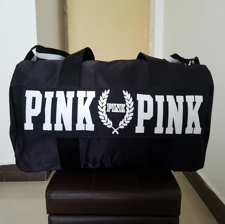 Fashion Women Handbags Love VS Pink Large Capacity Travel Duffle Striped Waterproof Beach Bag Shoulder Bag