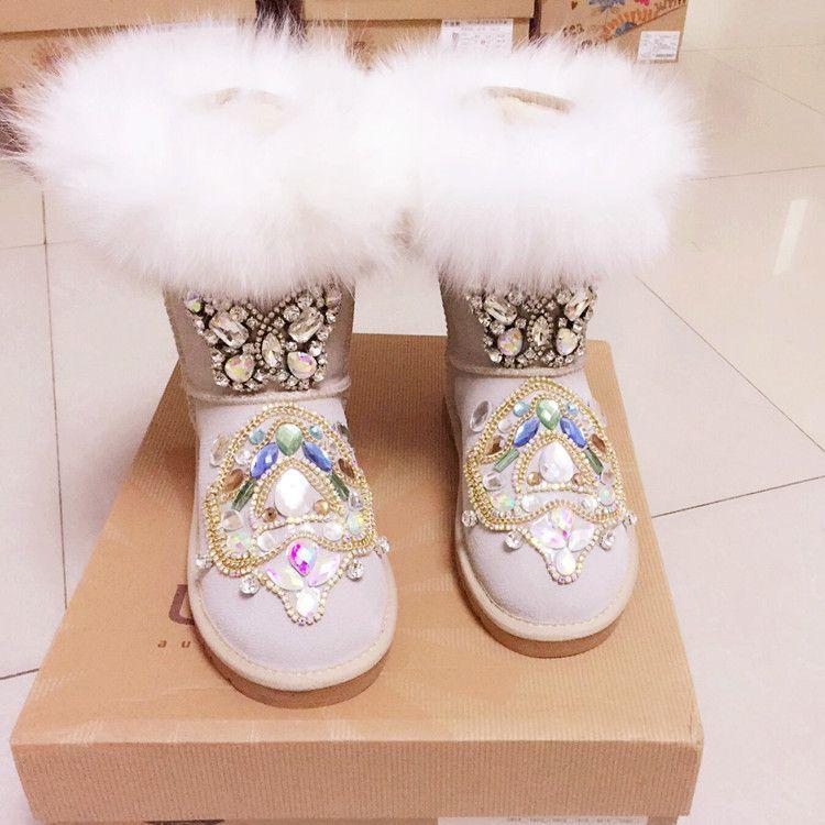 2017 new Australian snow boots fox fur handmade diamond boots thick flat warm