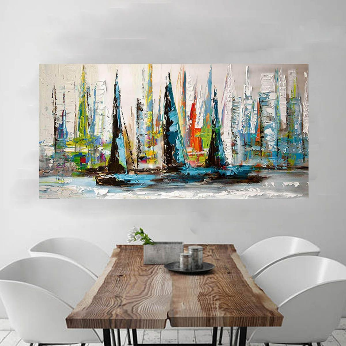 Palette Knife Thick Textured Acrylic Paintings Sailing Ships Arts Artist Handmade Painting Modern Abstract Sailboat Artwork on Canvas