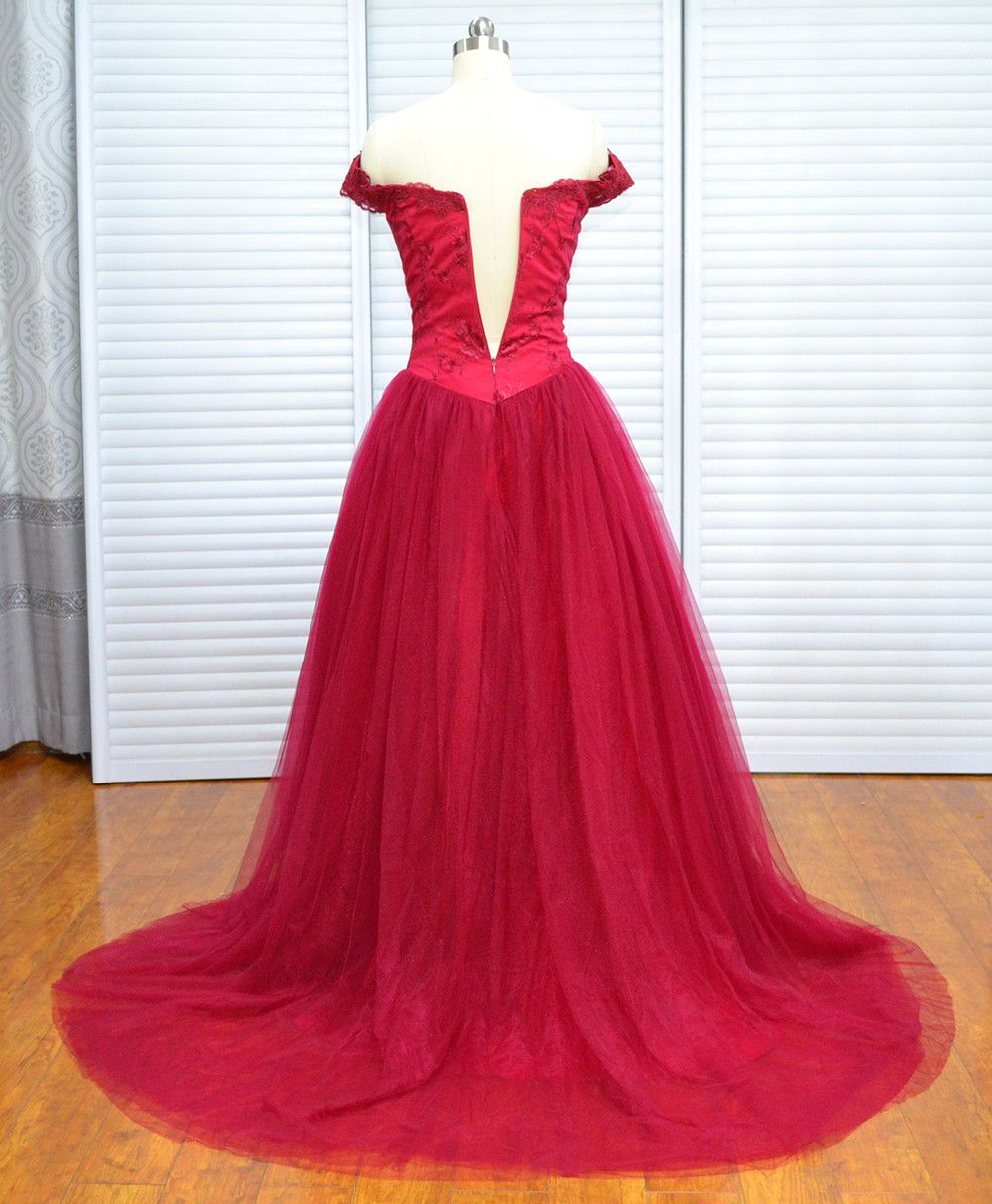 Real Photo Vinoprom Burgundy Cap Sleeves Tulle Zipper Up Prom Dresses Evening Gown 2018