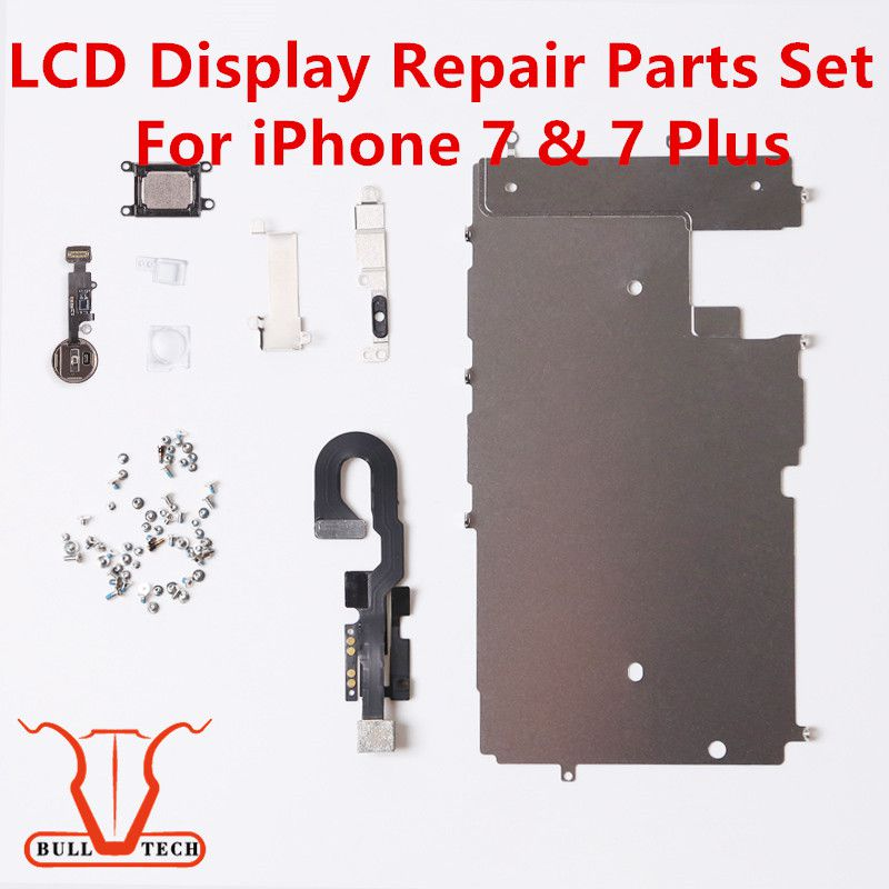 For iphone 7 7 Plus LCD Repair Parts Metal Plate Kit Front Camera Screws Earpiece Home Button Parts Set
