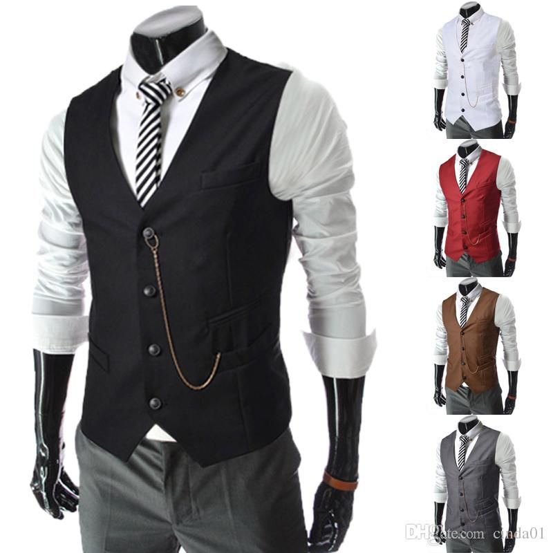 Men Business Vests Formal Men's Waistcoat Fashion Groom Tuxedos Wear Bridegroom Vests Casual Slim Vest Custom Made With Chain