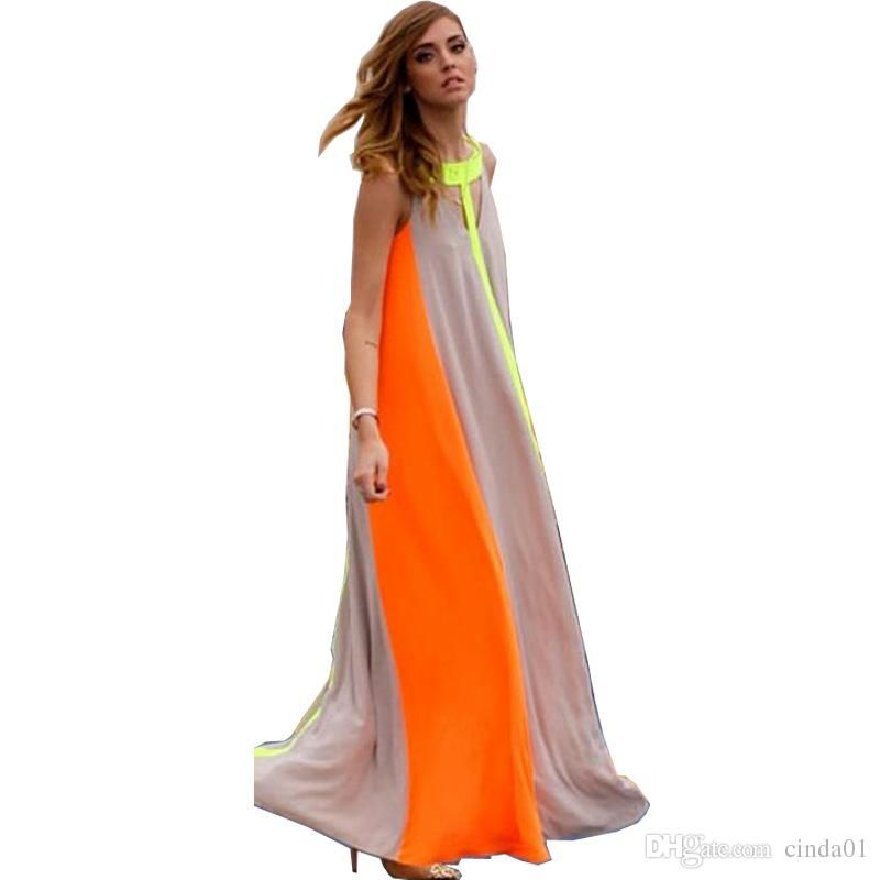 women summer chiffon boho dresses fashion colors patchwork Sleeveless Plus Size Vestidos maxi long dress clothing for female beach wear