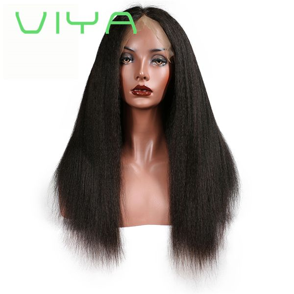 VIYA Full Lace Human Hair Wigs Kinky Straight Natural Color Brazilian Remy Hair Lace Wigs For Black Women With Baby Hair WY0914B