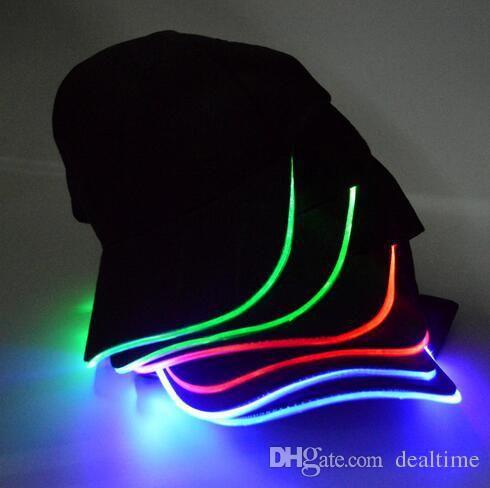 hot sale 8 colors LED Light Hat Glow Hat Black Fabric For Adult Baseball Caps Luminous Selection DHL