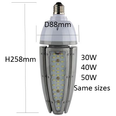 100-277VAC 30w 40w 50w LED Bulb Light E39 E40 IP65 Waterproof Outdoor Lamp Driver and Heatsink Separated