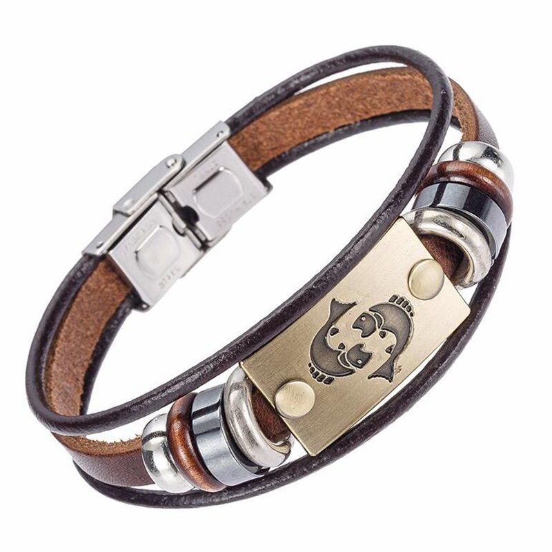 2017 Hot Sale Fashion 12 Constellation Chain With Stainless Steel Buckle Weave Leather Charm Cuff Bracelet Free Shipping Wholesale