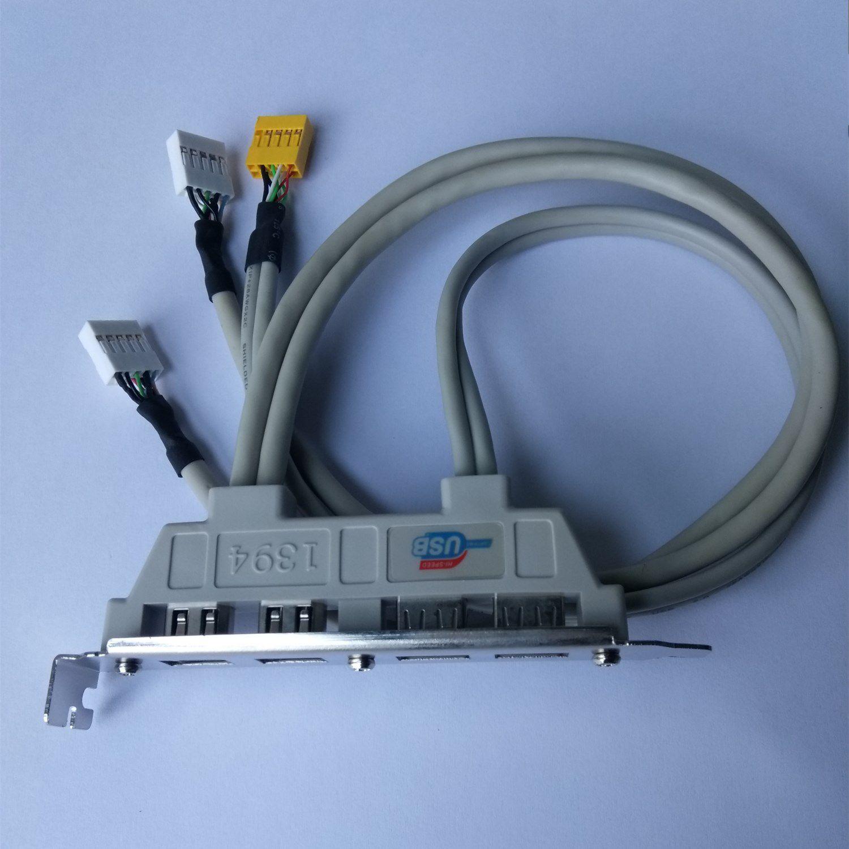 NEW High quaility 2 USB 2.0 Ports + 2 Firewire IEEE 1394 Ports Expansion Rear Panel Bracket