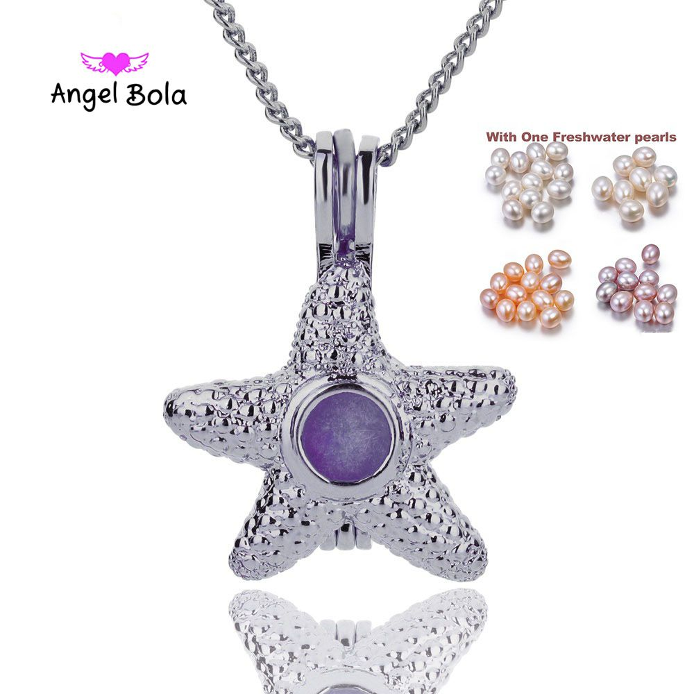Vintage 3color starfish Design Trendy Necklace Bracelet Jewelry Making Pearl Cage Locket Pendant Perfume Diffuser Jewelry