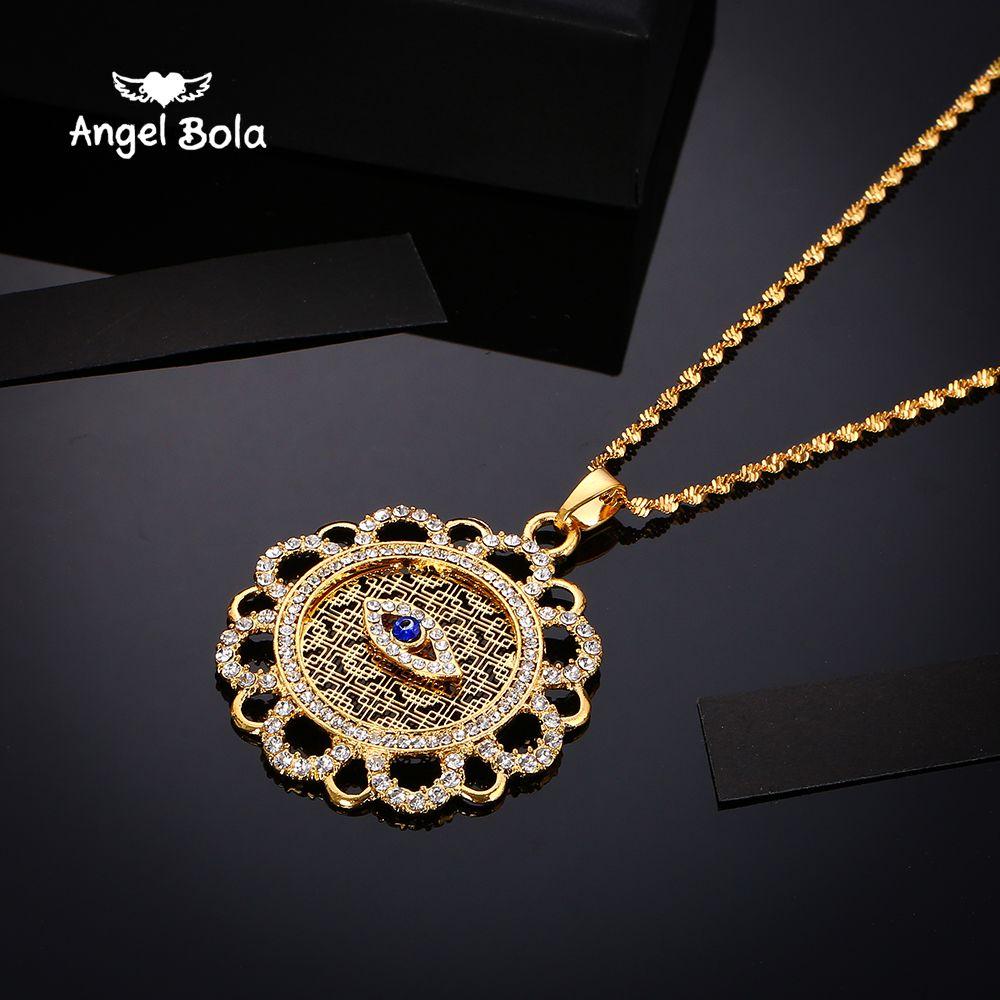 muslim turkish Hamsa Hand Of Fatima evil eye crystal pendant & necklace for women & men, Islam Gift & Jewelry