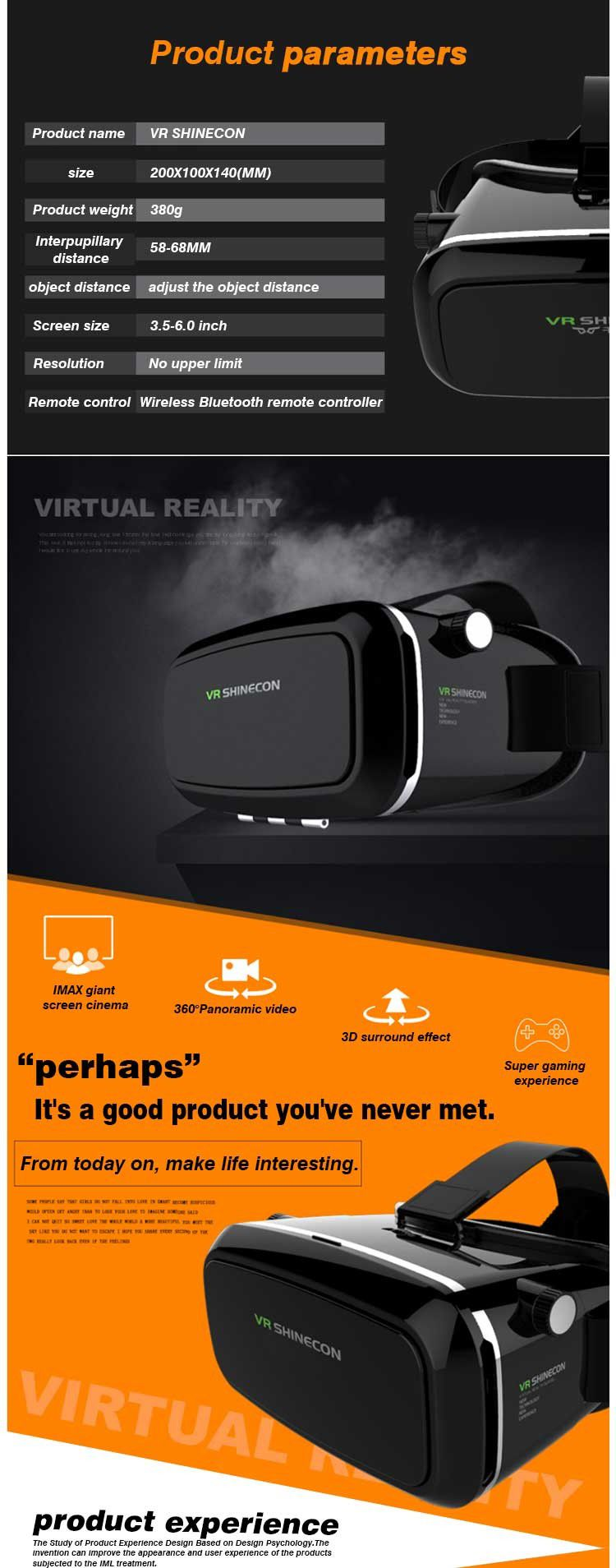 original VR SHINECON Virtual Reality 3D Glasses Helmet 3.5 inch ~ 6 inch with Retail Package Sell well