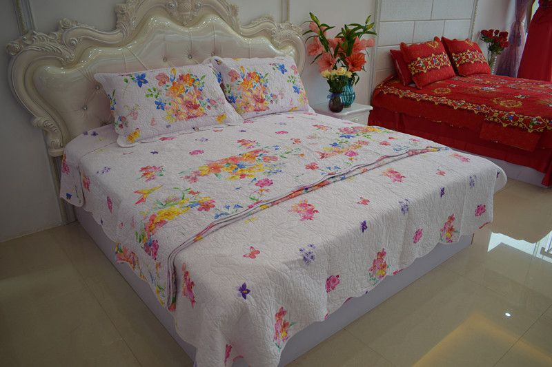 2018 new style pastoralism 100%cotton printed four-piece of bed cover