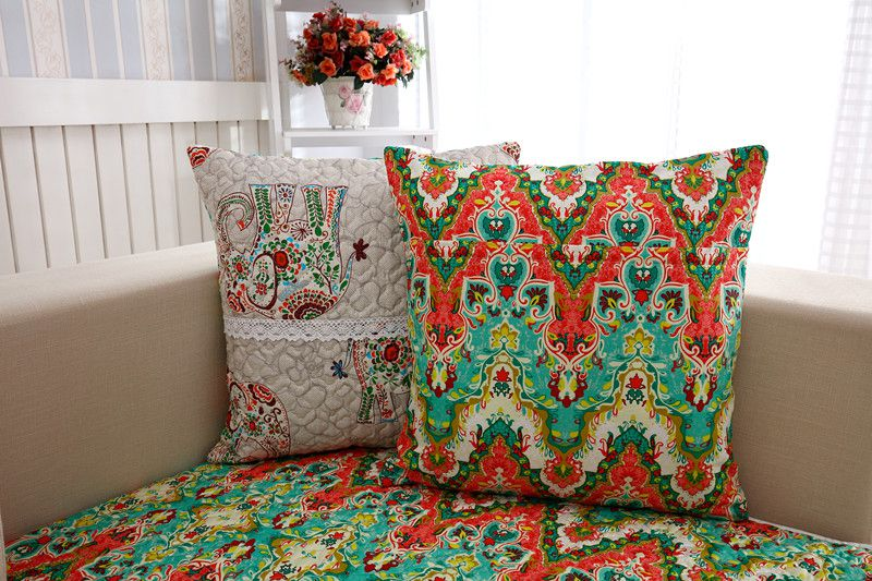 2018 new kind hot sale 100%cotton Elephant tabby for four seasons of sofa cover set bay window cushion