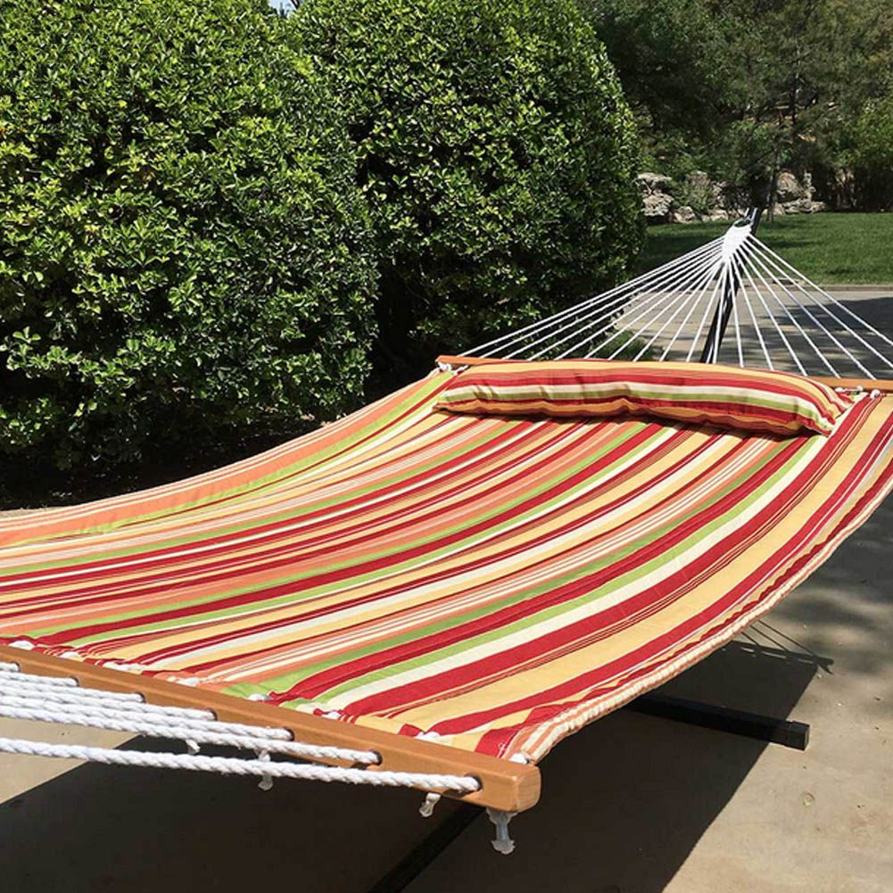 2 Person Size 78.74x039;'x55.12'' Fabric Hammock With Sticks Portable Quailted Hammocks With Pillow Inside Garden Sports