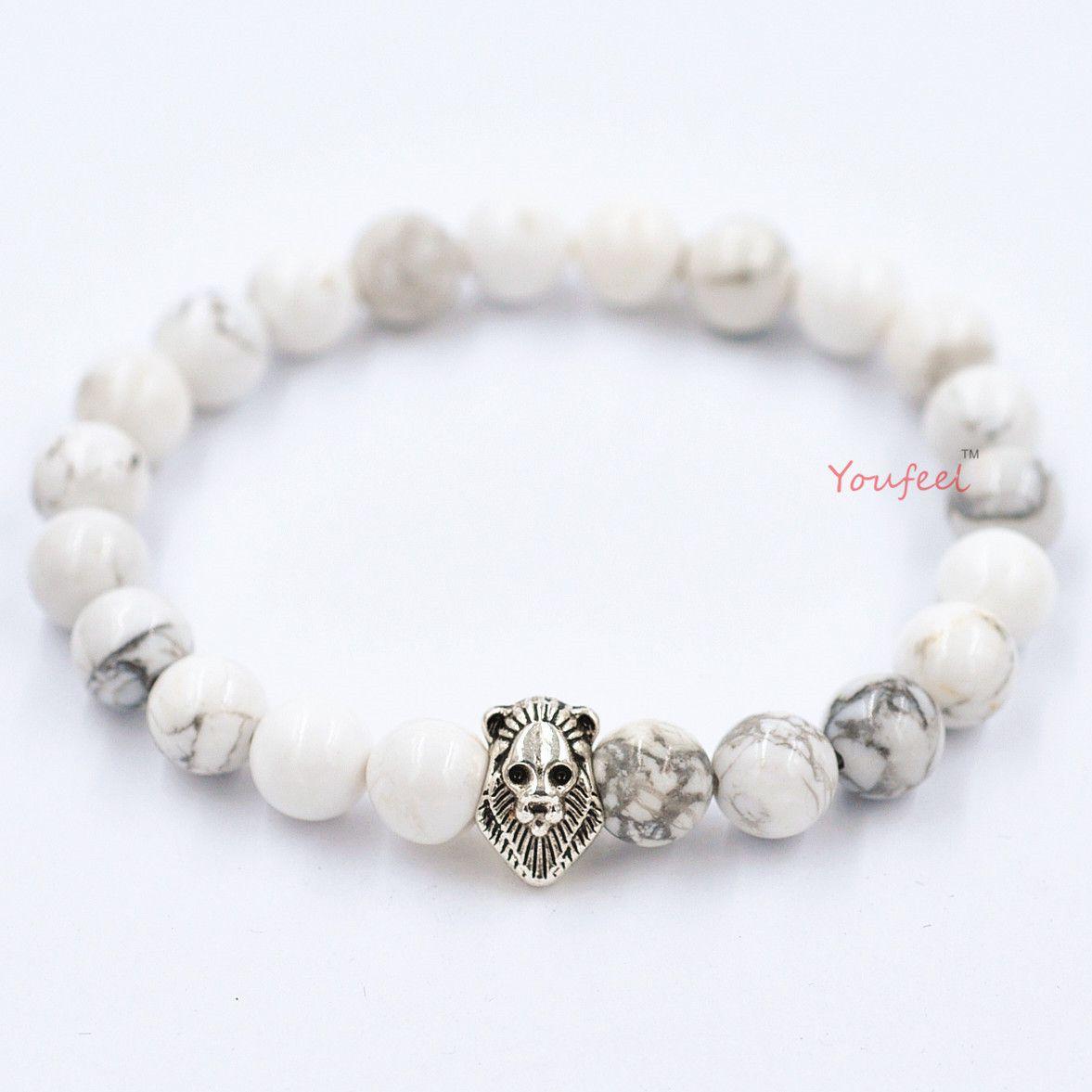 High quality bead bracelets Bohemian natural agate beads bracelets evil transit Lion head bracelets free shipping