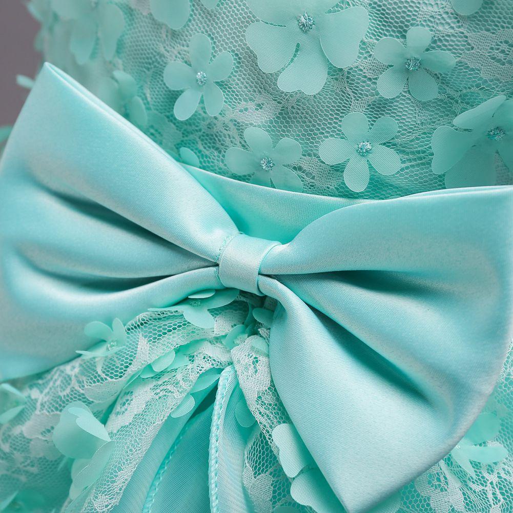 Elegant Ball Gown Flower Girls Dresses For Weddings Boat Neck Sleeveless Applique Lace Tulle Children Wedding Dresses Girls Pageant Dresses