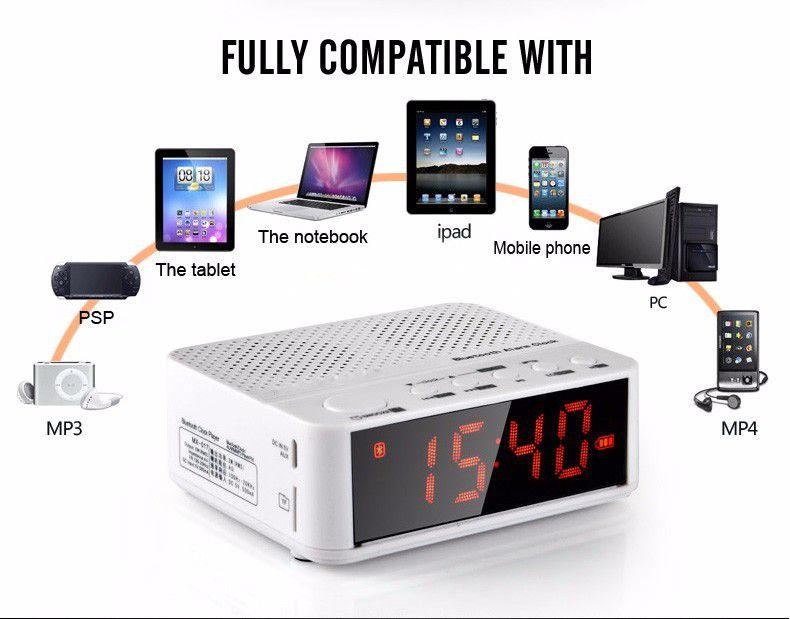 Freeshiping Big discount The multifunctional wireless stereo bluetooth LED clock wireless mini portable speaker for mobile phone
