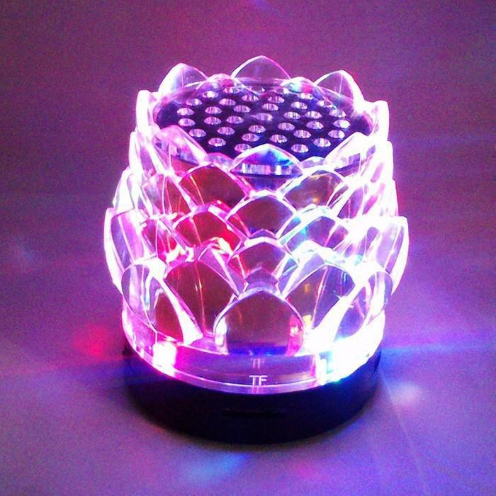 JHW-238 Crystal Lotus Portable Speaker Colorful Crystal flash mini stereo outdoor portable speaker