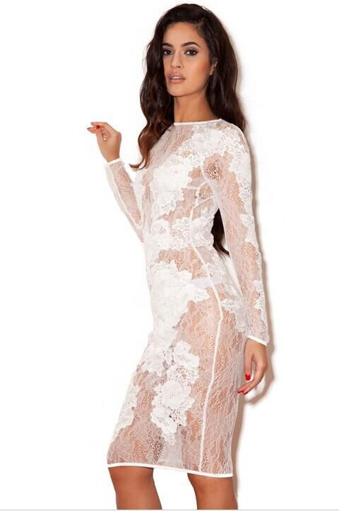 2015 New HANDMADE Sexy Women See Through Lace Embroidered Bodycon Slim Vestidos Vintage Pencil Party Club Cocktail Solid Dress