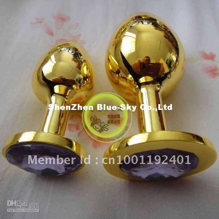 Gold color Stainless Steel Attractive Butt Plug Jeweled Anal Rosebud Anal (EXTRA LARGE SIZE) 9*4cm