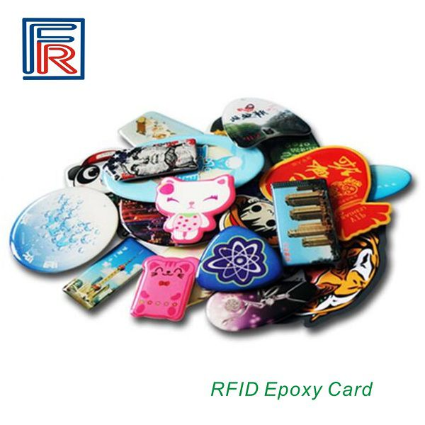 13.56MHz Custom Shaped Crystal RFID Epoxy Printed Card waterproof rewritable