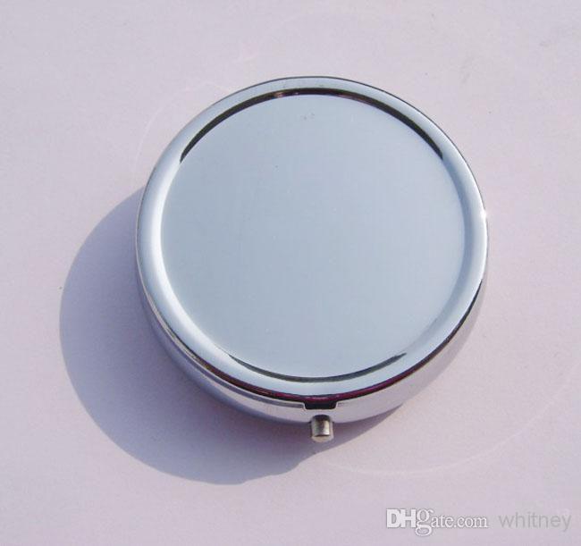 NEW Round Metal Pill Organizer Box of Medicine DIY Silver Color Boxes Free Ship