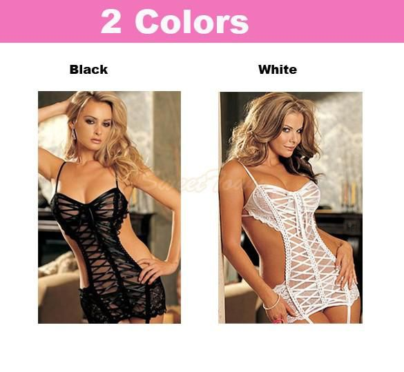 Women Sexy Lingerie Nightwear Costumes Lace Net Ladies Sleepwear Dress Plus Size M-XXL 24