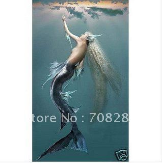 wholesale BEATIFUL ANGEL GIRL Mermaid Modern abstract canvas art oil painting BED SITTING ROOM murals hotel adornment picture