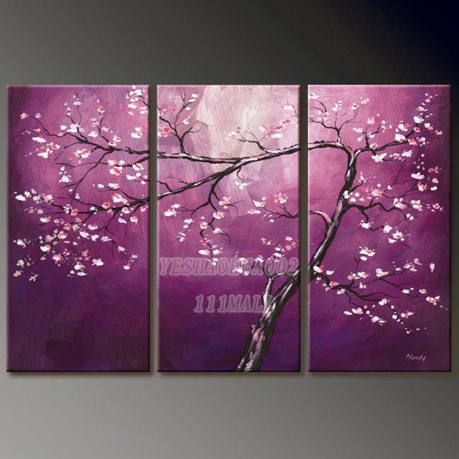 purple plum blossom abstractoil painting on canvas wholesale art landscape oil painting set POP Modern home decoration wall A24