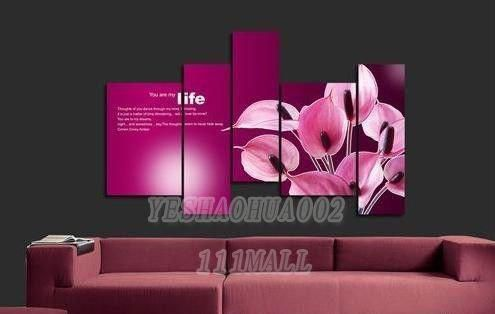 oil paintings canvas abstract wall art Oil Painting Natural scenery 5pcs/ set POP Modern home decoration art free shipping C225