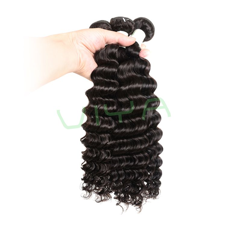 VIYA Brazilian Virgin Hair Deep Wave Unprocessed Extensions 3 Bundles Natural Black Color No Tangle Hair Extensions WY831H