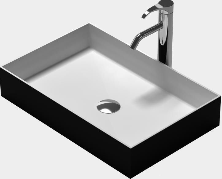 Rectangular black solid surface stone counter top vessel for Corian sink accessories