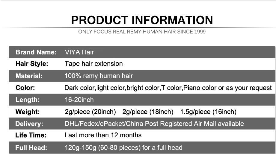 VIYA Real Human Hair On Tape 20pcs Double Sided Tape Extensions Red Purple Blue Color Real Human Hair 50 Grams WY0925B