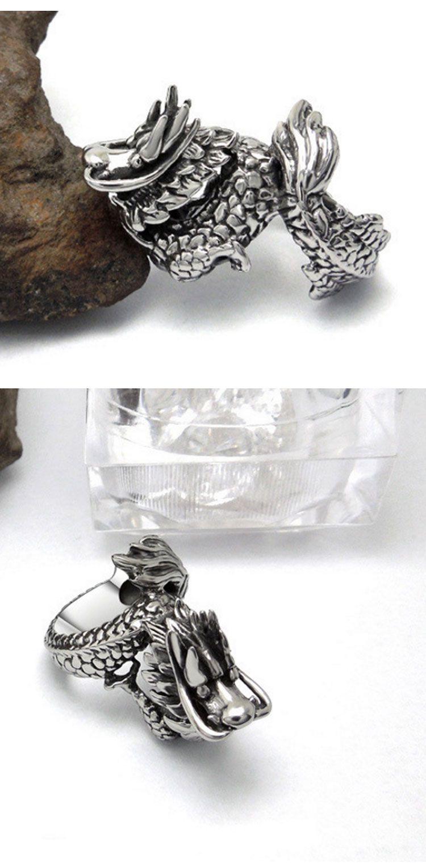 Men's dragon vintage silver stainless steel rings fashion korean style titanium steel metal rings jewelry accessories