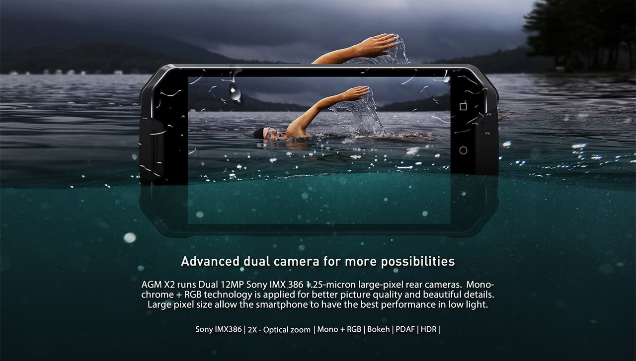 "AGM X2 5.5"" AMOLED FHD Snapdragon 653 Octa-core Android 7.1 4G Phone 13MP CAM 6GB RAM 64GB ROM IP68 Gorilla Glass 5"
