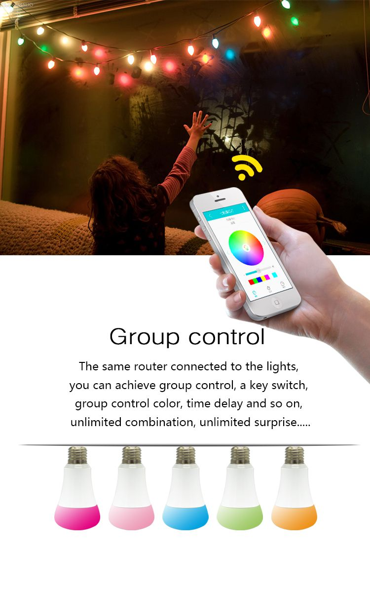 HuaFan QinLu WiFi Smart LED Bulb Remote Control Timing and Delay LED light With Shake Mode 16 Million Colors Can OEM