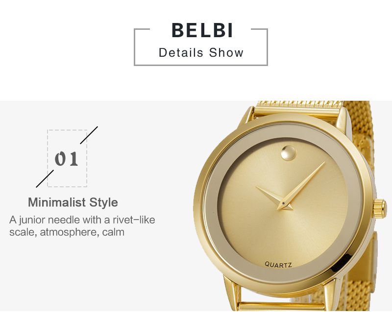 Belbi Thin Stainless Steel Watch OEM Western Watches Japan Movt Stainless Steel Logo Custom Men Wrist Watch